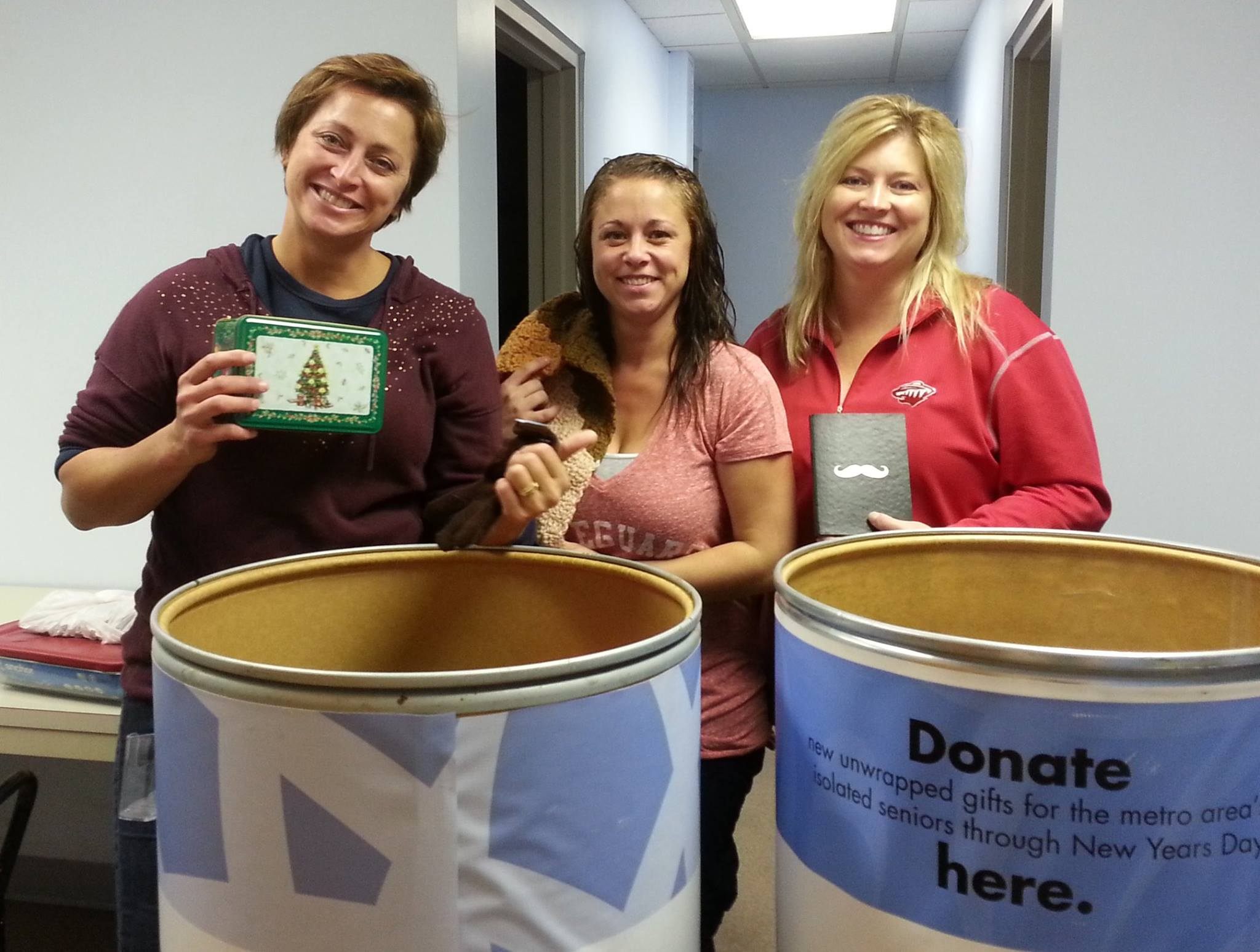 Donors fill Gifts for Seniors barrels with gifts to brighten the holiday season for local seniors.
