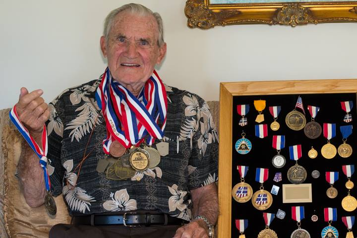 Bjorn with his ski medals